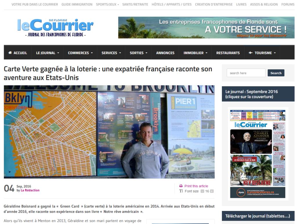 Le Courrier de Floride - Cliquez sur l'image pour accéder à l'interview